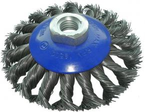 Корщетка-колесо с наклоном (конусная) витая 125 мм для УШМ (болгарок) USPEX 39116U