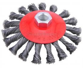 Корщетка-колесо с наклоном (конусная) витая 115 мм для УШМ (болгарок) SKRAB 35431