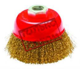 Корщетка-чашка 100 мм латунированная (гофрированная) для УШМ (болгарки) КРЕОСТ 7190100
