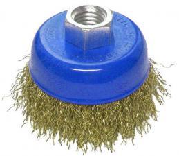 Корщетка-чашка 125 мм латунированная (гофрированная) для УШМ (болгарки) USPEX 39272U