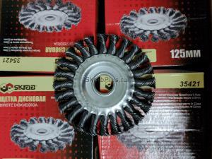 Оригинальное фото витой дисковой корщетки 125х22мм для УШМ (болгарки) SKRAB 35421