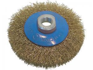 Корщетка-колесо с наклоном (конусная) латунированная 100 мм для УШМ (болгарок) USPEX 39050U