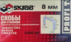 Оригинальное фото скоб для степлера 8 мм омедненные оцинкованные (1000 шт) Тип 53 SKRAB 35232
