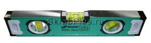 Уровень строительный 300 мм магнитный, фрезерованный, 3 глазка ЗЕЛЕНЫЙ SKRAB 40430 купить оптом в СПб