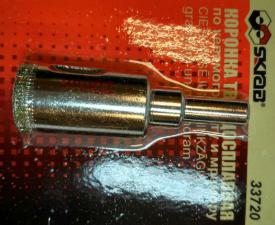 Коронка алмазная по керамограниту и мрамору 25 мм SKRAB 33725