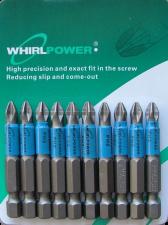 Биты PH2x50 мм магнитные 10 шт WhirlPower 43665