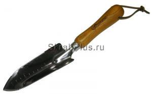 Совок садовый посадочный 300 мм УЗКИЙ с зубьями SS сталь деревянная ручка SKRAB 28399 купить оптом и в розницу в СПб