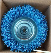 Корщетка-чашка 125 мм нейлоновая для УШМ (болгарки) оксид циркония (ZrO2) ПРОФИ SKRAB 35488 (вид в коробке)