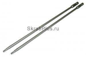 Биты T25x150 TORX магнитные 2шт SKRAB 43504 звездочка с отверстием купить оптом в СПб