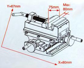 """Схематические характеристики  тисков двухкоординатных (крестовинных) 76 мм 3"""" с проточкой SKRAB 25503"""