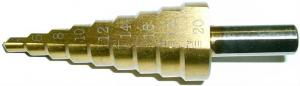 Сверло ступенчатое по металлу 4-20 мм 9 ступеней (4-6-8-10-12-14-16-18-20 мм) HSS TIN SKRAB 30161