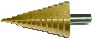 Сверло ступенчатое по металлу 4-38 мм 13 ступеней (4-6-9-13-16-19-21-23-26-29-32-35-38 мм) HSS TIN SKRAB 30164